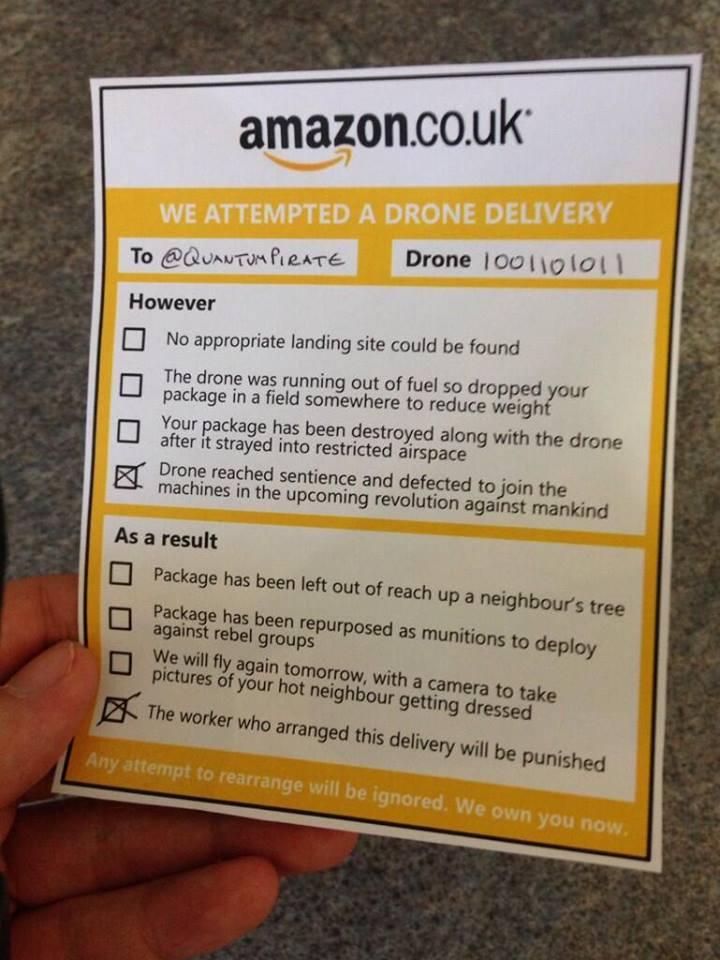 Zustellprobleme bei der Amazon Drone. Ein Beispiel.